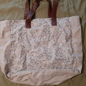 Merona Sequin Tote w/brown handles